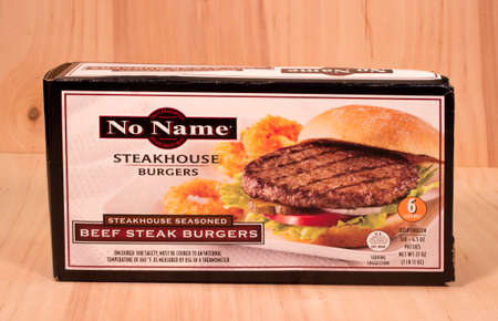 no name: RIVER FALLS,WISCONSIN-MAY12,2015: A box No Name brand Beef Steak burgers. No Name products are distributed by J&B Wholesale Incorporated.