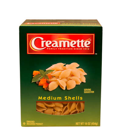 enriched: RIVER FALLS,WISCONSIN-MAY15,2015: A box of Creamette brand shell macaroni. Creamette is a product of New World Pasta Company.