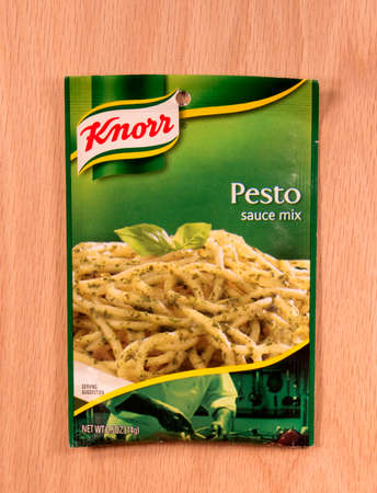 RIVER FALLS,WISCONSIN-MAY16,2015: A packet of Knorr brand Pesto sauce mix. Knorr is a German food brand owned by Unilever since the year Two Thousand Sajtókép