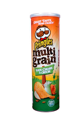 multi grain: RIVER FALLS,WISCONSIN-MAY19,2015: A can of Pringles brand Multi Grain chips. Pringles chips are distributed by the Kellogg Company. Editorial