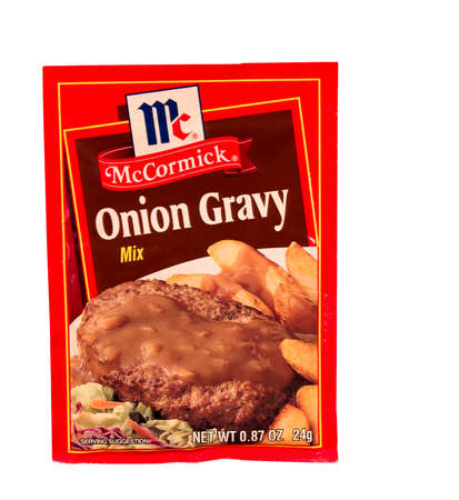 headquartered: RIVER FALLS,WISCONSIN-MAY24,2015: A packet of McCormick brand Onion Gravy mix. McCormick and Company is headquartered in Sparks,Maryland. Editorial