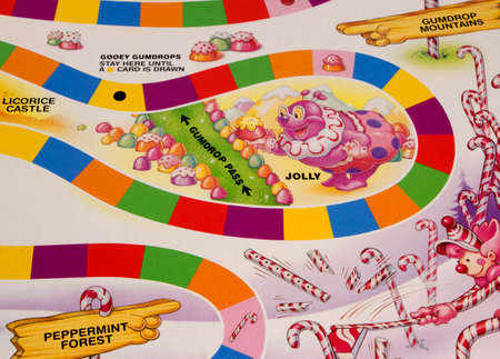 RIVER FALLS,WISCONSIN-MAY24,2015: A section of the Candy Land game board featuring Jolly the Clown. Candy Land was first published in Nineteen Forty Nine. Redactioneel