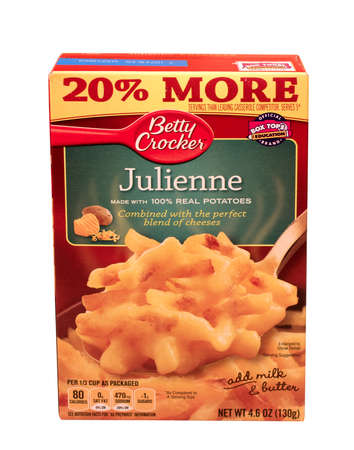 julienne: RIVER FALLS,WISCONSIN-MAY24,2015: A box of Betty Crocker brand Julienne Potatoes. Betty Crocker products are distributed by General Mills. Editorial