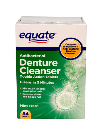 RIVER FALLS,WISCONSIN-MAY27,2015: A box of Equate brand denture tablets. Equate products can be found at your local Walmart store.