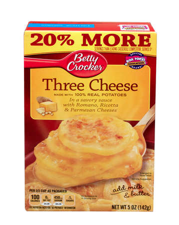 RIVER FALLS,WISCONSIN-MAY28,2015: A box of Betty Crocker brand Three Cheese Potatoes. Betty Crocker is a brand name of General Mills of Golden Valley Minnesota.