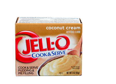 jello: RIVER FALLS,WISCONSIN-JUNE 27,2015: A box of JELL-O brand coconut cream pudding and pie filling. JELL-O is a brand owned by Kraft Foods.