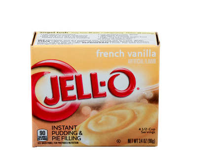 RIVER FALLS,WISCONSIN-JULY 13,2015: A box of Jell-O brand French Vanilla pudding. Jell-O is a brand owned by Kraft Foods.