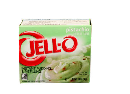 jello: RIVER FALLS,WISCONSIN-JULY 17,2015: A box of Jell-O brand Pistachio pudding and pie filling. Jell-O is a brand owned by Craft Foods.