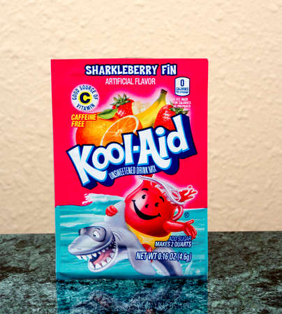 caffiene: RIVER FALLS,WISCONSIN-JULY 21,2015: A package of Kool-Aid brand Sharkleberry Fin drink mix.
