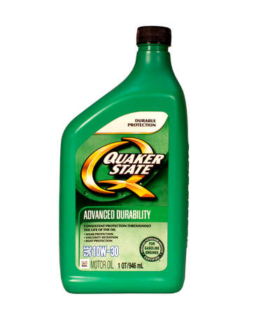 viscosity: RIVER FALLS,WISCONSIN-JULY 21,2015: A one quart bottle of Quacker State motor oil. Quacker State is made by  SOPUS Products.