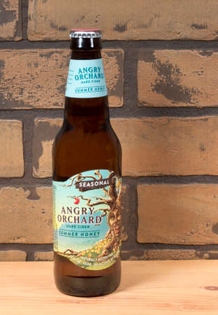 RIVER FALLS,WISCONSIN-AUGUST 01,2015: A bottle of Angry Orchard Summer Honey hard cider. Angry Orchard Cider Company is located in Cinncinati,Ohio. Editorial