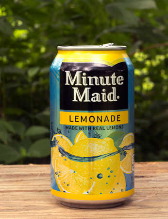 mucama: RIVER FALLS,WISCONSIN-AUGUST 04,2015: A can of Minute Maid lemonade in an outdoor setting. Minute Maid is a product of The Coco-Cola Company.