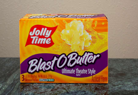 RIVER FALLS,WISCONSIN-AUGUST 06,2015: A box of Jolly Time microwave pop corn. Jolly Time is a product of American Pop Corn Company of Sioux City,Iowa. Editorial