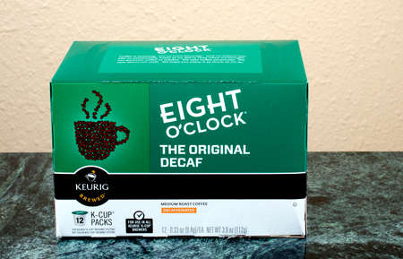 headquartered: RIVER FALLS,WISCONSIN-AUGUST 07,2015: A box of Keurig Eight OClock coffee packs. Keurig Green Mountain is headquartered in Waterbury,Vermont. Editorial