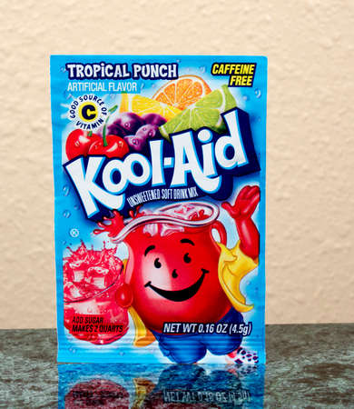 caffeine free: RIVER FALLS,WISCONSIN-AUGUST14,2015: A packet of Kool-Aid brand Tropical Punch drink mix.