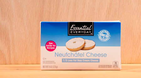 RIVER FALLS,WISCONSIN-AUGUST18,2015: A box of Neufchatel soft cheese. Neufchatel cheese is made in the French region of Normandy.