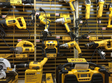 RIVER FALLS,WISCONSIN-AUGUST 24,2015: A display of numerous DeWALT power tools. DeWALT is headquartered in Baltimore,Maryland. 新闻类图片