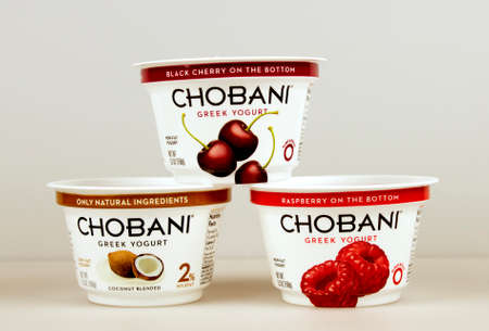 nonfat: RIVER FALLS,WISCONSIN-SEPTEMBER 02,2015: Several containers of assorted flavored Chobani greek yogurt.