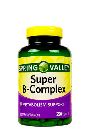 incorporated: RIVER FALLS,WISCONSIN-SEPTEMBER 06,2015: A bottle of Spring Valley brand B-Complex vitamins. This product is found at Wal-Mart Stores Incorporated. Editorial