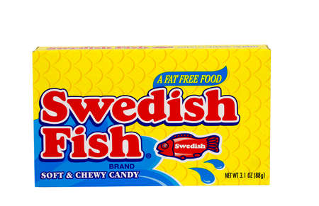 RIVER FALLS,WISCONSIN-SEPTEMBER 12,2015: A box of Swedish Fish brand soft and chewy candy. Sajtókép