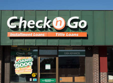 headquartered: RIVER FALLS,WISCONSIN-SEPTEMBER19,2015: A Check n Go loan center storefront. Check n Go is headquartered in Cincinnati,Ohio.