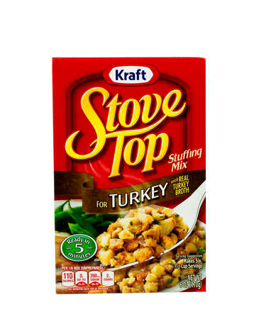 RIVER FALLS,WISCONSIN-NOVEMBER 05,2015: A box of Kraft brand Turkey stuffing mix. Kraft is an official sponser of both Major League Soccer and the National Hockey League. Editorial