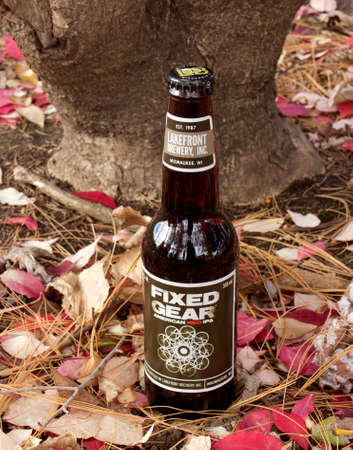 RIVER FALLS,WISCONSIN-NOVEMBER 06,2015: A bottle of Fixed Gear Red Ale. This beer is a product of Lakefront Brewery of Milwuakee,Wisconsi Editorial