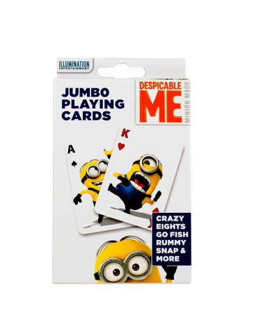 eights: RIVER FALLS,WISCONSIN-NOVEMBER 11,2015: A box of Despicable Me playing cards. The Despicable Me movie was first released in Twenty Ten.