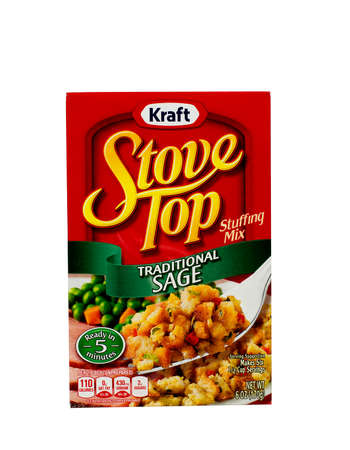 RIVER FALLS,WISCONSIN-NOVEMBER 05,2015: A box of Kraft brand Sage flavored stuffing mix. Kraft is an official sponser of both Major League Soccer and the National Hockey League.