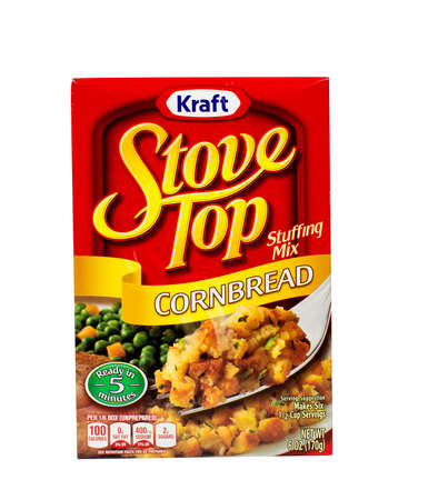 RIVER FALLS,WISCONSIN-NOVEMBER 05,2015: A box of Kraft brand Cornbread stuffing mix. Kraft is an official sponsor of both Major League Soccer and the National Hockey League. Editorial