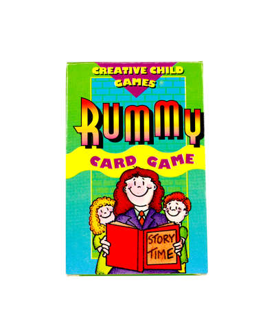 rummy: RIVER FALLS,WISCONSIN-NOVEMBER27,2015: A box of Rummy cards for children. Editorial