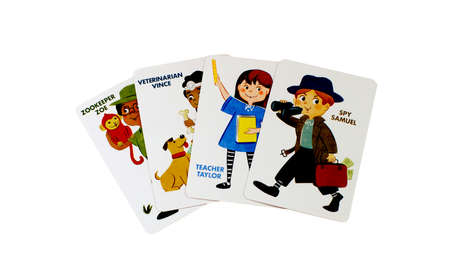 maid: RIVER FALLS,WISCONSIN-DECEMBER 02,2015: Old Maid cards featuring the Zookeeper,Veterinarian,Teacher,and Spy