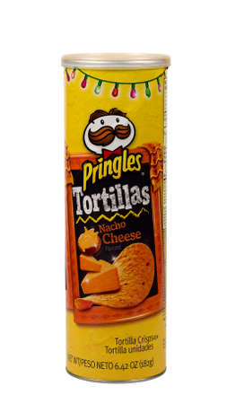 nacho: RIVER FALLS,WISCONSIN-DECEMBER 08,2015: A can of Pringles brand Nacho Cheese tortilla chips.