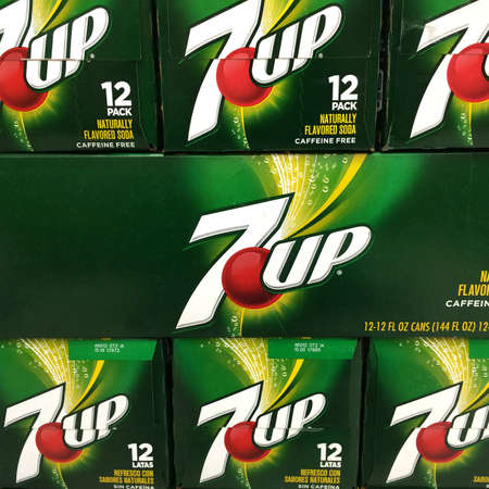 introduced: RIVER FALLS,WISCONSIN-MARCH 25,2016: A closeup view of several 7 Up cartons. 7 Up was first introduced in Nineteen Thirty Six.