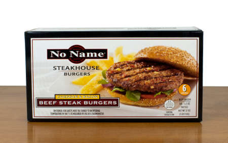 no name: RIVER FALLS,WISCONSIN-MARCH 05,2016: A box of No Name brand beef steak burgers. No Name products are produced by Loblaw Companies Limited of Canada.