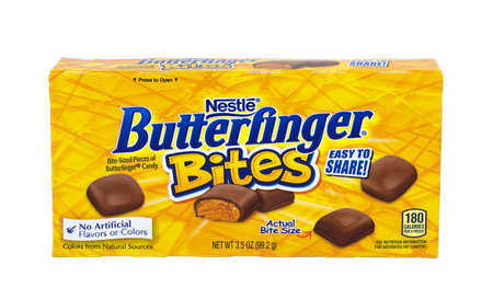 nestle: RIVER FALLS,WISCONSIN-MARCH 21,2016: A box of Nestle brand Butterfinger Bites.Nestle is one of the worlds largest producer of candy.