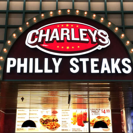 gosh: The Charleys Philly Steaks sign and restaurant. Charleys is a division of Gosh Enterprises. Editorial