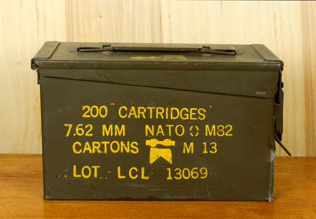 caliber: RIVER FALLS,WISCONSIN-JULY 19,2016: A vintage military issued ammo can for thirty caliber cartridges.