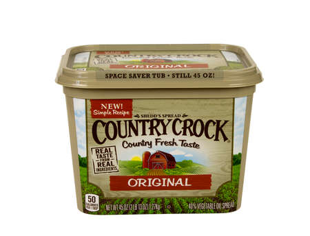 crock: RIVER FALLS,WISCONSIN-JANUARY 18,2016: A tub of Country Crock brand faux butter spread.