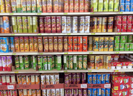 RIVER FALLS,WISCONSIN-JULY 21,2016: Several varieties of Pringles brand potato chips.