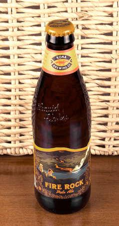 kona: RIVER FALLS,WISCONSIN-MAY 28,2016: A bottle of Fire Rock pale ale by Kona Brewing Company.