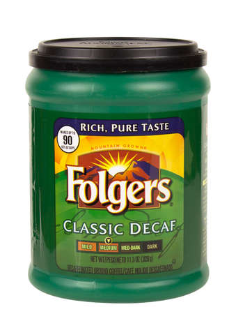 decaf: RIVER FALLS,WISCONSIN-JANUARY 21,2016: A container of Folgers brand medium roast decaf coffee.