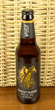 wasatch: RIVER FALLS,WISCONSIN-APRIL 14,2016: A bottle of Ghostrider ale. This ale is made by Wasatch Brewery of Salt Lake City,Utah