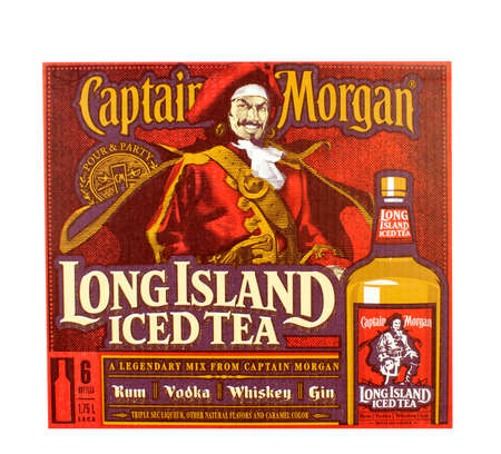 RIVER FALLS,WISCONSIN-AUGUST 09,2016: An advertisibg sign for Captain Morgan Long Island Iced Tea. Captain Morgan is a product of Diageo of London.