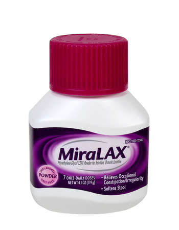 RIVER FALLS,WISCONSIN-MAY 05,2016: A container of Miralax brand powdered laxative. Miralax is a product of Bayer AG of Germany. Sajtókép