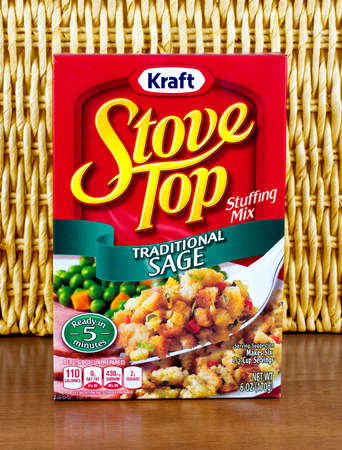 stove top: RIVER FALLS,WISCONSIN-APRIL 07,2016: A box of Stove Top stuffing mix from Kraft Foods. Kraft Foods is headquartered in Northfield,Illinois. Editorial