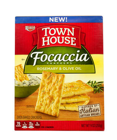 RIVER FALLS,WISCONSIN-AUGUST 23,2016: A box of Keebler brand rosemary and olive oil focaccia crackers.