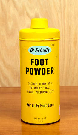 dr: RIVER FALLS,WISCONSIN-SEPTEMBER 01,2016: A vintage can of Dr Scholls brand foot powder. Dr Scholls is a product of Bayer Incorporated. Editorial