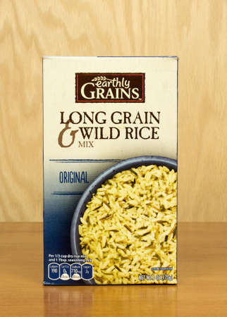 earthly: RIVER FALLS,WISCONSIN-OCTOBER 11,2016: A box of Earthly Grains brand long grain wild rice mix.