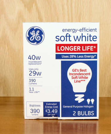 RIVER FALLS,WISCONSIN-OCTOBER 25,2016: A package of General Electric brand forty watt soft white bulbs. Editorial